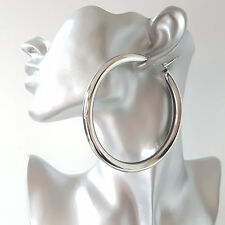 Gorgeous! HUGE! SILVER tone CHUNKY oversized plain shiny hoop earrings * NEW *