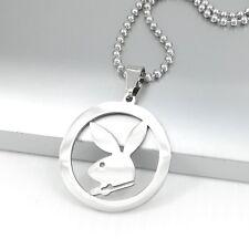 "Silver Round Playboy Bunny Rabbit Animals Pendant 24"" 61cm Ball Chain Necklace"