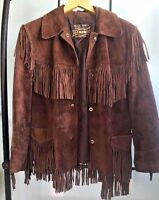SALE!!! VINTAGE BROWN SUEDE FRINGE COAT the Tannery Very good condition