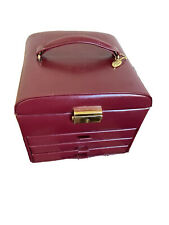 Wolf Designs Red Burgundy Leather Locking Jewelry Box Case With Key Unused