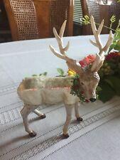 "7"" Robert Stanley Glass Ornament Silver Reindeer Wreath Buck Christmas Deer"