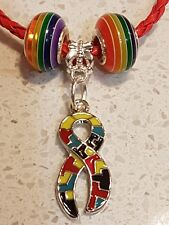 Autism childs twisted leather bracelet.