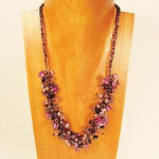 "20"" Purple Stone Shell Chip Handmade Seed Bead Necklace FREE SHIPPING!"