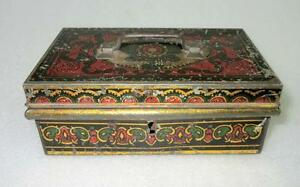 Vintage Old Collectible Rare Red And Green Beautiful Design Litho Print Tin Box