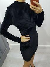 Topshop black velvet long sleeve dress high neck size UK 10