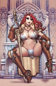 🚨🔥🗡 RED SONJA #28 RYAN KINNAIRD Virgin Ivory Throne Variant LTD 350 NM-