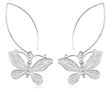 925 Sterling Silver Delicate Filigree Butterfly Hanging Threader Earrings Gift