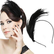 Lady Feather Hair Accessory Metal Headband Hair Band Fascinator Masquerade Swan