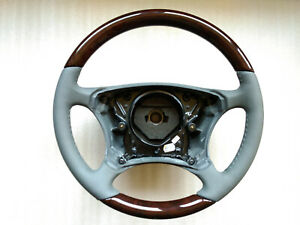 Mercedes-Benz W220 W215 GREY GRAY LEATHER Steering wheel WALNUT WOOD OEM