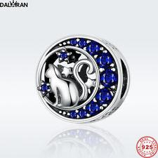 DALARAN Neue Ankunft 925 Sterling Silber Cat Blauer Kristall CZ Charme Perlen