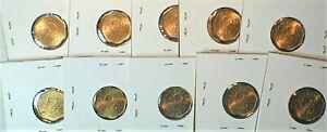10 Coin Lot- 1957 Ceylon 2 Cents in Brilliant Uncirculated Condition KM#124(982)