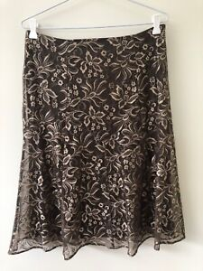 Katies Size S Floral Embroidered A Line Lace Overlay Skirt Brown Olive & Cream