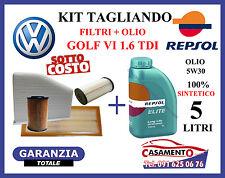 KIT TAGLIANDO FILTRI + OLIO REPSOL 5W30 5LT VW GOLF VI 1.6 TDI