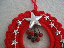 Red Crochet Wreath Silver Stars Holly Berries Ornament