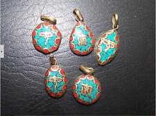Tibetan Hexagonal Brass Turquoise Red Coral Carved Buddha Eye Amulet Pendant