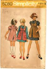 Vintage 1970s Simplicity Sewing Pattern Girl's DRESS SMOCK 5280 Sz 7 UNCUT