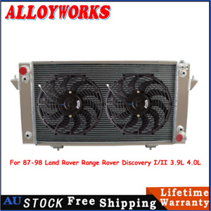 """3Row Radiator 2X12""""fan For 87-98 Land Rover Range Rover Discovery I/II 3.9L 4.0L"""