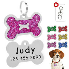 Custom Dog Tags Glitter Bone Dog Collar ID Tags Personalized Free Engraved Gold