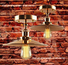 Industrial RETRO VINTAGE COPPER METAL SHADE FLUSH MOUNT PENDANT LIGHT CEILING
