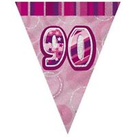 Pink Glitz 90 Flag Banner 12 Ft String Flags 90th Birthday Party Decorations