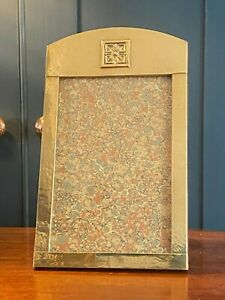 Antique Arts & Crafts Handcrafted Oak Backed Brass Picture Frame - c.1910
