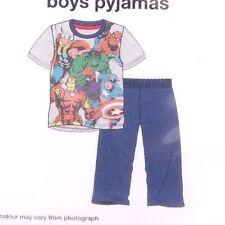 Marvel Avengers Assemble Boy's Pajama Pants & Shirt 2 Piece Set Ages 7-8 128 cm
