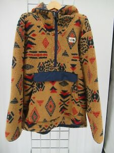 K1377 VTG Men's The North Face Campshire Aztec Print Fleece Hoodie Size XL
