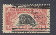 Liberia 1920, 4c on 2c civet, DOUBLE overprint #177