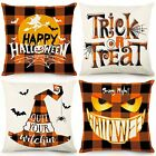 Halloween Pillow Covers 18x18 Set of 4 Buffalo Plaid Pumpkin Face Trick or Treat