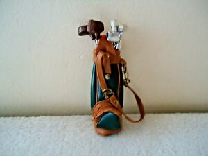 "Vintage 1992 T.H.T. Golf Bag With Clubs For Doll / Bear "" GREAT COLLECTIBLE """