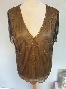 LADIES HEAVYILY BEAD TOP SIZE 20  DAVID EMANUEL BROWN GOLD LINED