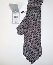 $215 Purple Label Ralph Lauren Zigzag Silk Necktie Silver Grey Black Tie NWT