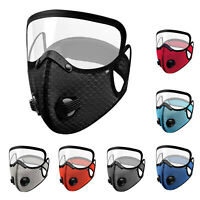 Adults Reusable Face Mask With PM 2.5 Active Carbon Filter and Eye Shield Cover