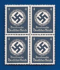 NAZI GERMANY 4 Pf DK BLUE POST 3rd Third Reich Swastika postage stamp block MNH