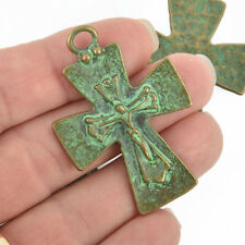 "4 Bronze Crucifix Cross Charms with green verdigris patina, large 2""  chs4961"