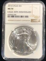 2016 U.S. Silver Eagle $1 Dollar NGC MS70 1 Oz .999 Pure Coin 30TH ANNIVERSARY