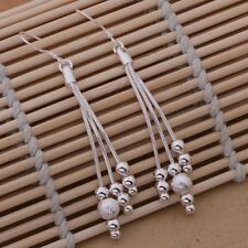 Earrings 3 Stand Chain Textured Bead Drop Dangle Ladies 925 Sterling Silver