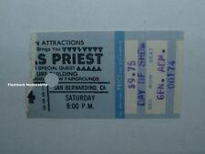 Judas Priest 1980 Concert Ticket Stub San Bernardino Ca Nat'L Orange Very Rare