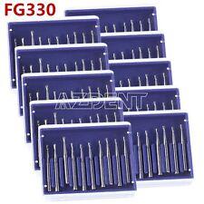 10box Dental Carbide Burs Pear Shaped Type High Speed Tungsten Steel Bur Fg330