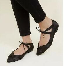 a0be427ae Ladies New Look Black Satin Pointed Cross Lace Up Dolly Ballet Pumps Shoes  UK 4