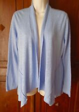 EILEEN FISHER Sweater Open Cardigan Blue Linen-Cotton Shawl Collar XS-S* #SA