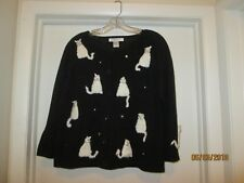 Arriviste Large Cat Sweater Black With White Cats