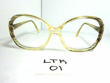 Vtg 70s/80s LUXOTTICA Sun Eyeglass Frame Oversize Cane Beige Italy Lady (LTK-01)