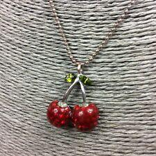 Collar Colgante de cereza Cerezas Retro Resina Roja con Diamantes de Imitación Hojas Verdes