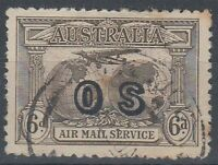 "AUSTRALIA 1931 6d. AIRMAIL OVPT ""OS"" FU (ID:131/D44546)"