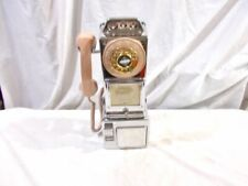Chrome 3-Slot Payphone with Beige Accessories & Brass Wheel