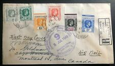 1949 St Johns Antigua Leeward Islands Airmail First Day Cover To Montreal Canada