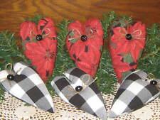 3 Black White Buffalo Check 3 Poinsettia Hearts Country Christmas Home Decor