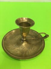 Vintage Solid brass etched candle holder with 4'' drip plate and ring  handle.