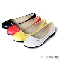 Womens PU Leather Round Toe Ballet Flats Boat Casual Shoes Plus Size 4.5-12.5 XY